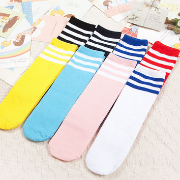 Kids Knee High Socks Girls Boys Football Stripes Cotton Socks Old School White Socks Skate Children Baby Long Tube Leg Warmer