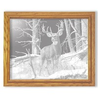 """After the Season"" Deer Etched Glass Art Rectangular Mirrors"