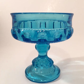 Aqua Blue Glass Thumbprint Compote, Indiana Kings Crown Blue Glass Pedestal Bowl