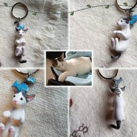 Custom Cute Cat Keychain -- Made to Order, Handmade Polymer Clay, Hand Painted, Cat Lover Gift, Pet Portrait Keepsake, Pick Your Charm