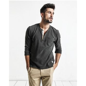 Men Long Sleeve Button T shirt 100% Cotton Pullover 3 Colors up to 3X