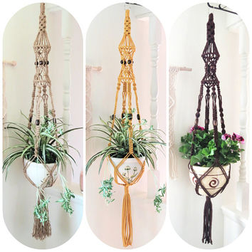 Large Macrame Plant Hanger, Colorful Macrame Plant Holder, Hippie Birdcage Plant holder, Neutral Beaded Boho Pot Hanger, 70s Ceiling Planter