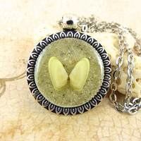 Yellow Coquina Seashell Pendant Necklace with Sand and Shell from Sanibel Florida