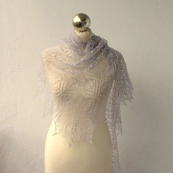 Silver hand knitted cobweb shawl, silk and linen lace shawl