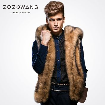 Men's Hooded Faux Fur Vested Waist Coat