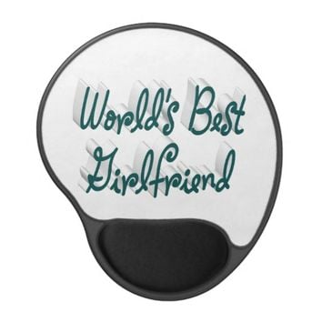 World's Best Girlfriend 3D Gel MousePad,Blue Green Gel Mouse Pad