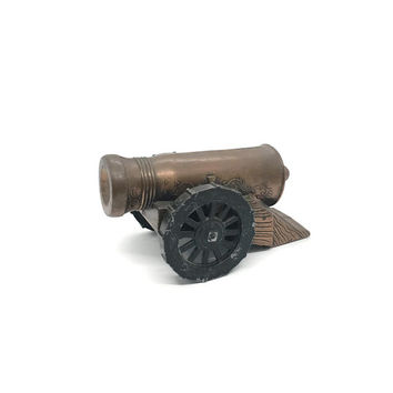 Banthrico Cannon Bank - 1974 Rare Copper and Steel Cannon - Militaria or Bank Collector Advertising Bank Banthrico Chicago Made in USA
