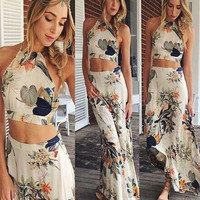 Floral Halter Sleeveless Bodycon Cropped Top Maxi Skirt Set