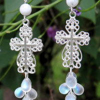 White Cross Stainless Steel Earrings,Cross Earrings, Dangles, Spring Ear Jewelry, Fringe, Drops, Fashion, Gemstone Earrings, Faith, Believe