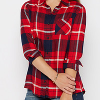 Red Plaid Woven Button Down