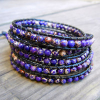 Beaded Leather Wrap Bracelet 4 or 5 Wrap with Purple Violet Jasper Beads on Black Leather