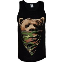 Men's Camouflage Bandana Bear Tank Top Shirt