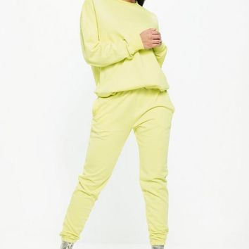 Missguided - Lime Super Slim Clean Joggers