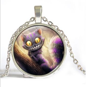 Alice In Wonderland Cheshire Cat Glass Cabochon Necklace