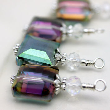 Hot Colorized Faceted Square Crystal Bead Dangle Drop Set