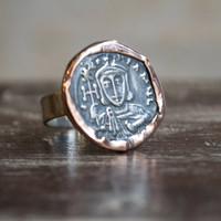 Silver coin ring, two-tone ring, tribal ring, sterling silver ring, rose gold ring, boho ring, gypsy ring, hippie ring, ethnic - Epic  R2270