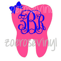 Dentist/Dental Hygienist Bow Monogram Tooth Decal