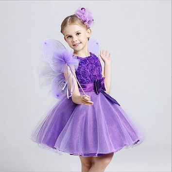 Super Deal!All-match Multi-color Simple Style Roses Bowknot Flower Girl Dress/Performance Dress/Girl Party Dress 927