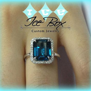 London Blue Topaz Engagement Ring 8 x 10mm, 3.25ct Emerald Cut in a 14K White Gold Diamond Halo Setting