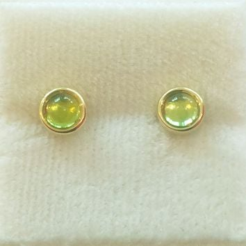 4mm Cabochon Stud Earrings With Peridot