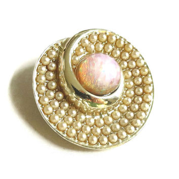 SALE Vintage Swirl Brooch or Pendant with Large Opal Glass & Pave Pearls