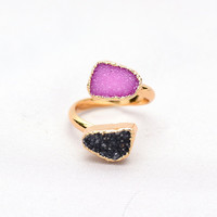 Boho Luxury Crystal Rings Gold Plated Drusy Amethyst Turquoise Opening Finger Ring Natural Stone Jewerly Women