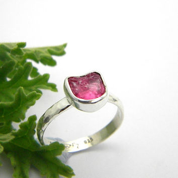 Ruby ring sterling silver rough raw ruby stone, hammered band ring, stacking ring, July birthstone size 7.5
