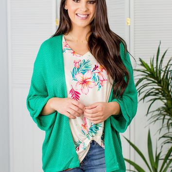 Waffle Knit Cardigan 3/4 Sleeve-Kelly Green