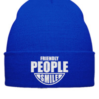 FRIENDLY PEOPLE SMILE EMBROIDERY HAT  - Beanie Cuffed Knit Cap