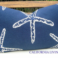 "Coastal STARFISH Lumbar Pillow Cover / 12"" x 18"" / Navy / Indoor Fabric / Hidden Zipper Closure / Decorative Pillow"