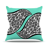 """Pom Graphic Design """"Two Romantic Birds"""" Abstract Teal Outdoor Throw Pillow"""