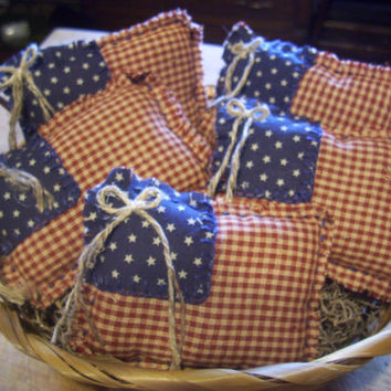 PATRIOTIC JULY 4th Flag Bowl Fillers, Handmade Rustic, Primative Ornaments, USA, America, Country Decor, Red, White, Blue
