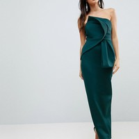 ASOS Bandeau Fold Bow Front Scuba Maxi Dress at asos.com