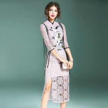 Shaped Slim Pink Lace One Piece Dress [288439795753]