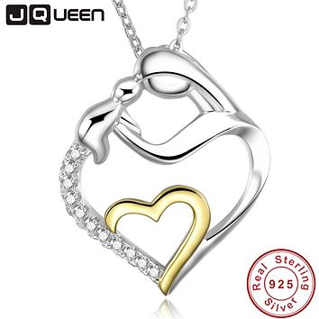 Mom Mother's Gift Fine 925 Sterling Silver Heart Love Mom Holds Child Pendant Necklace i love you always mom with Silver Chain