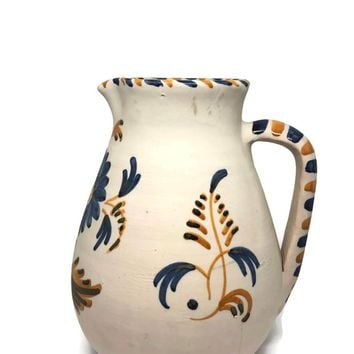 Vintage Talavera Pottery Vase Made in Spain, Hand Painted Ceramic Water Pitcher, Spanish Rustic Table Centerpiece, Mantle or Shelf Decor
