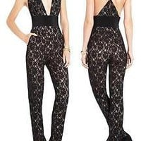 BCBG MAX AZRIA BEAUTE LACE HALTER JUMPSUIT ULTRA SEXY BLACK NUDE 6 NWT $268.00