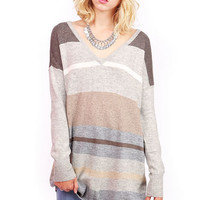 Stripe V-Neck Knit