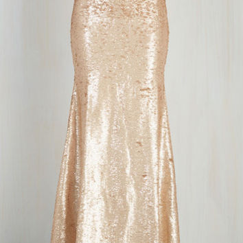 Luxe Long Maxi Oh Say Can You Sheen Skirt in Gold
