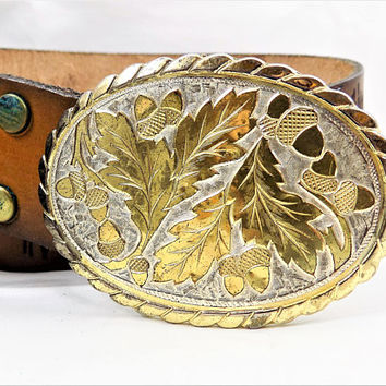 Acorn Belt Buckle, Autumn, Gold and Silver Tone, W USA, Vintage Belt Buckle
