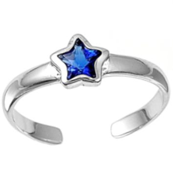 .925 Sterling Silver Blue Sapphire Star Adjustable Ring for Ladies and Kids CZ Midi or Toe