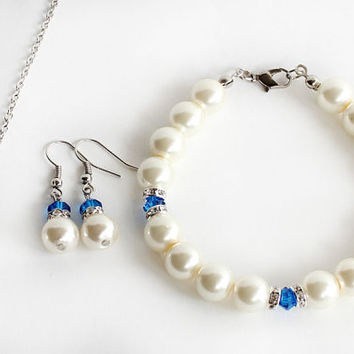 Bridesmaid jewelry set pearl necklace bracelet and earrings set with rondelles sapphire royal blue navy blue swarovski crystal wedding gift