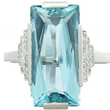 6.47 ct Aquamarine and 0.36 ct Diamond, 14 ct White Gold Cocktail Ring - Art Deco - Antique Circa 1930