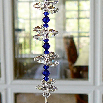 "Natalie Cobalt Blue 9""  - Swarovski Crystal Sun Catcher, 30mm Crystal Ball with Dark Blue Crystal Beads and Crystal Octagons"