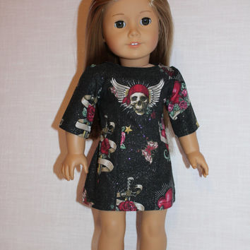 18 inch doll clothes,doll dress, Ascot dress, skull print dress, heart print dress, american girl, Maplelea