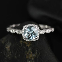 Christie 14kt White Gold Aquamarine and Diamonds Cushion Halo WITH Milgrain Engagement Ring (Other metals and stone options available)