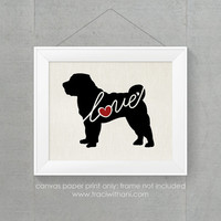 Shar-Pei (Shar Pei) Love - Burlap or Canvas Printed Wall Art for Dog Lovers. Maltese / Poodle Mix - Shabby Chic, Cottage Style Wall Hanging