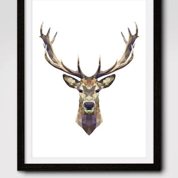60% OFF SALE Deer Print, Deer Art, Deer Wall Art, Geometric Deer Print, Wall Print, Origami, Deer Face, Geometric, Triangle Deer Art