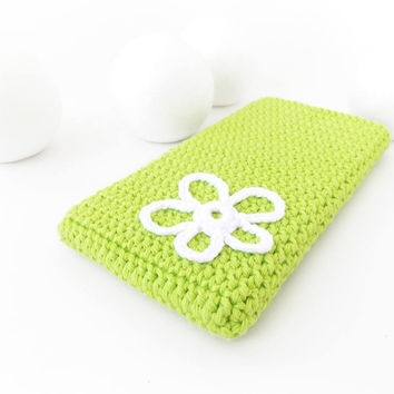Lime Moto G5 phone cover, Samsung Galaxy A3 case, iPhone 7 sock, vegan Huawei P10 cover, White flower HTC 10 pouch, eco Sony Xperia XA1 cozy