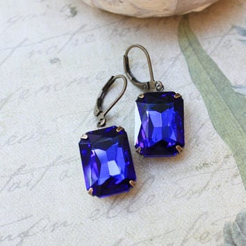 Sapphire Blue Glass Earrings Rhinestones Rectangle Jewel Dark Blue Drop Gems Vintage Style Jewellery Old Hollywood Nickel Free Leverback